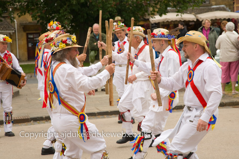 Gloucestershire Morris Men dancing in Broadway, Cotswolds