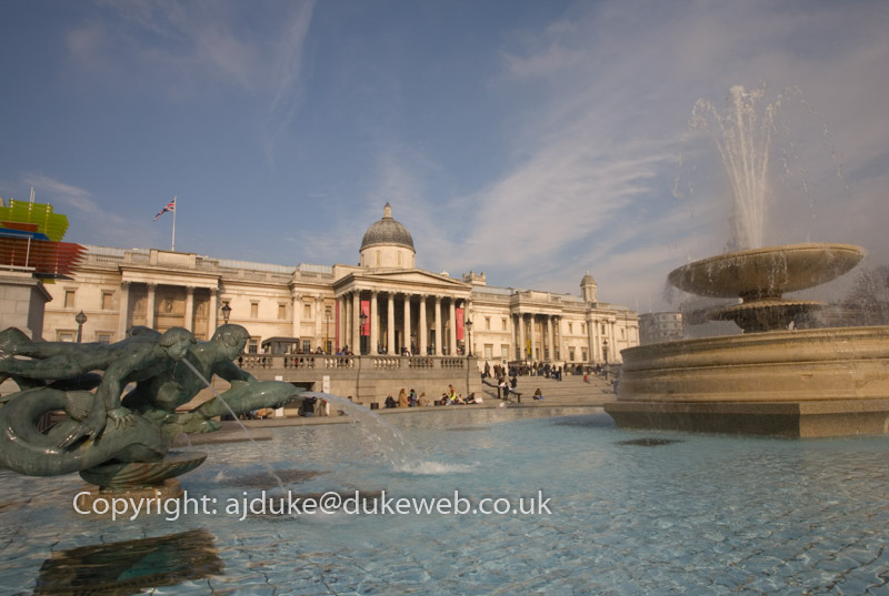 The National Gallery and fountains in Trafalgar Square, London