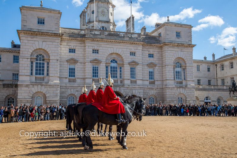 The Life Guards regiment of the Household Cavalry on parade at Horse Guards Parade, London