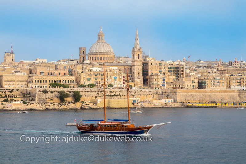 Valetta the capital city seen from Tigne seafront, Malta