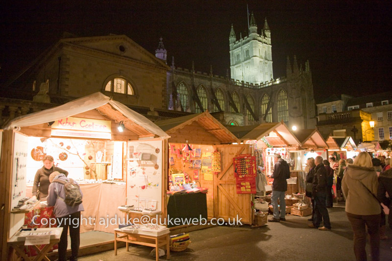 Christmas Market and Bath Abbey, Bath, Somerset