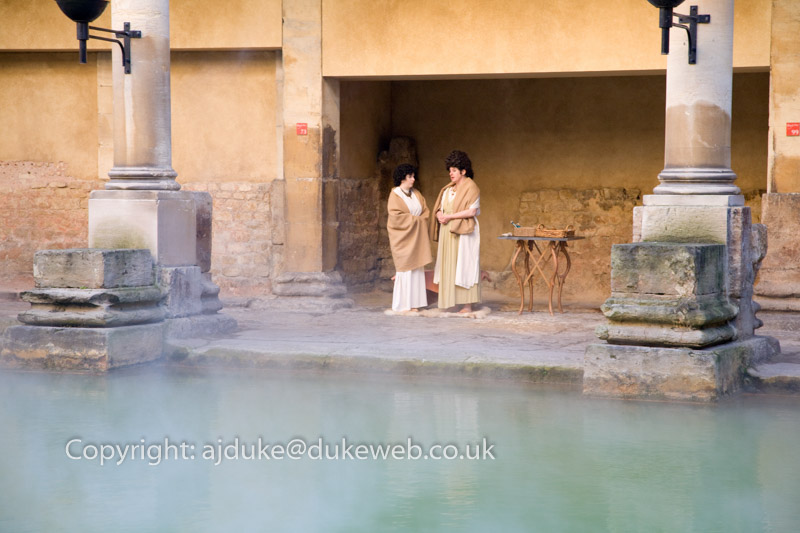 Steam coming off the Roman Baths, Bath, Somerset