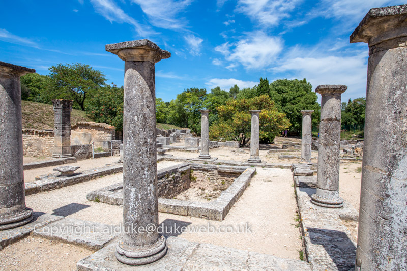 Glanum Roman city ruins at St. Remy de Provence, Provence, France