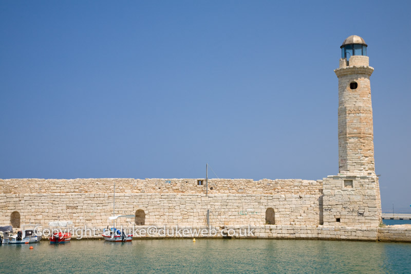 Venetian Harbour and lighthouse, Rethymno, Crete, Greece