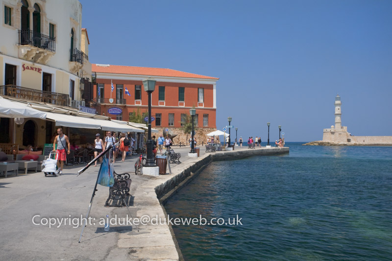Venetian Harbour and lighthouse, Chania, Crete, Greece
