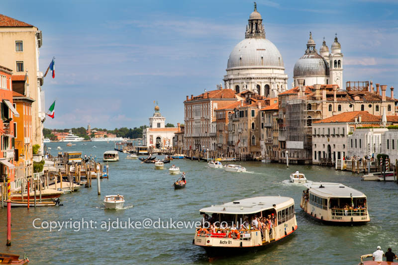 Grand Canal, Vaporetto ferries and Dorsoduro, Venice, Italy
