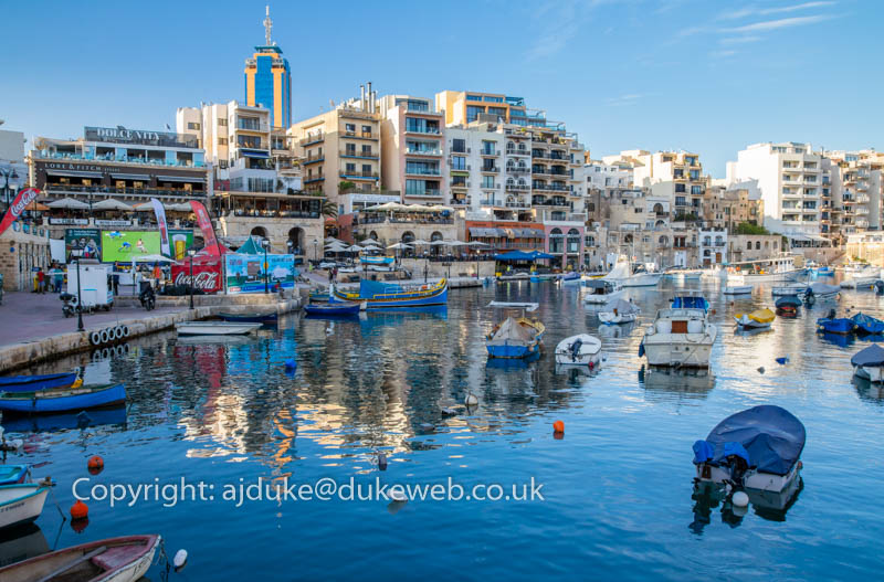 Spinola bay area of St.Julian's Bay with bars restaurants and nightlife, Malta