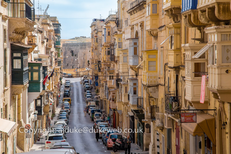 Valetta buildings scene showing characteristic Maltese balconies, Malta