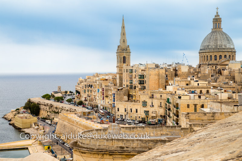 Valetta city Carmelite church dome and St Paul's cathedral, Malta