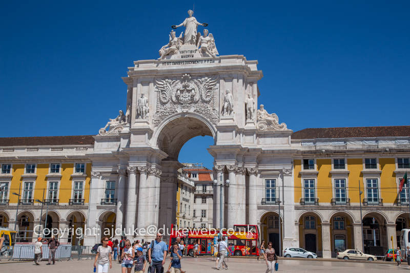 Arco da Rua Augusta, the triumphal arch on commerce square in Lisbon, Portugal