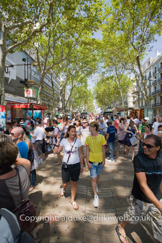Las Ramblas walking street, Barcelona, Spain