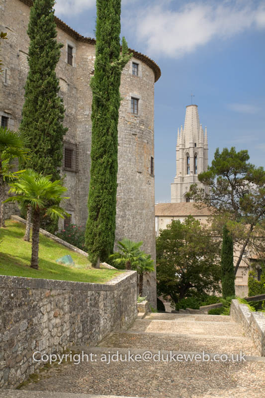 Gardens behind Cathedral, Girona, Catalonia, Spain